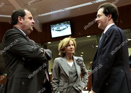 (l-r): Austrian Finance Minister Josef Proell Spanish Finance Minister Elena Salgado British Chancellor of the Exchequer George Osborne (r) Prior to a European Finance Ministers Meeting at European Union Headquarters in Brussels Belgium 15 March 2010 Belgium Brussels