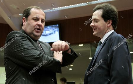 British Chancellor of the Exchequer George Osborne (r) and Austrian Finance Minister Josef Proell Prior to a European Finance Ministers Meeting at the European Union Headquarters in Brussels Belgium 15 March 2010 Belgium Brussels
