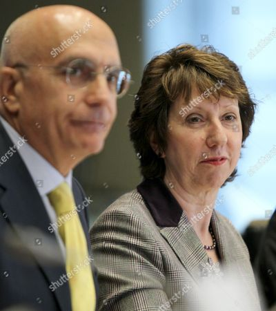 Stock Picture of European Union High Representative For Foreign Affairs and Security Policy Briton Catherine Ashton (r) and Italian Gabriele Albertini Chair of Foreign Affairs Committee of the European Parliament During a Hearing of European Parliament Foreign Affairs Committee in Brussels Belgium 27 October 2010 Belgium Brussels