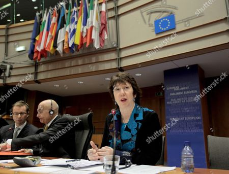 High Representative of the Union For Foreign Affairs and Security Policy of the European Union (eu) Britain's Catherine Ashton During a First Hearing by the Foreign Affairs Committee of the European Parliament in Brussels Belgium 02 December 2009 (on the Left) Chair of Foreign Affairs Committee of the European Parliament Italian Gabriele Albertini Belgium Brussels