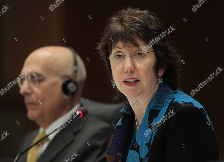 Stock Photo of High Representative of the Union For Foreign Affairs and Security Policy of the European Union (eu) Britain's Catherine Ashton During a First Hearing by the Foreign Affairs Committee of the European Parliament in Brussels Belgium 02 December 2009 (on the Left) Chair of Foreign Affairs Committee of the European Parliament Italian Gabriele Albertini