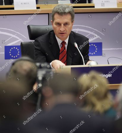 Stock Photo of European Commissioner-designate For Energy German G?nther Oettinger Attends a Hearing by the European Parliament in Brussels Belgium 14 January 2010 European Union Legislators Are Grilling the 26 Nominees For the European Commission in a Series of Hearings the Candidates Face Tough Questions About Their Experience and Suitability For Office Belgium Brussels