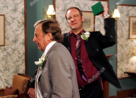 'Emmerdale'   TV Kenneth Farrington being hit by Nick Miles