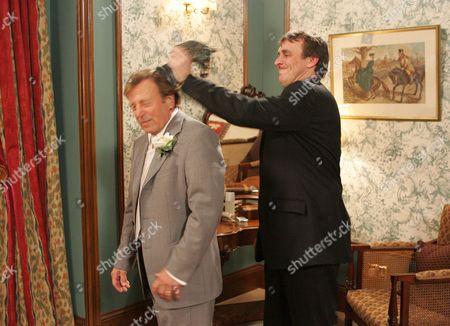 'Emmerdale'   TV Kenneth Farrington being hit by Matt Healy