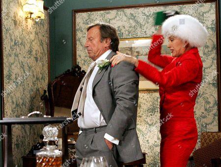 'Emmerdale'   TV Kenneth Farrington being hit by Linda Thorson