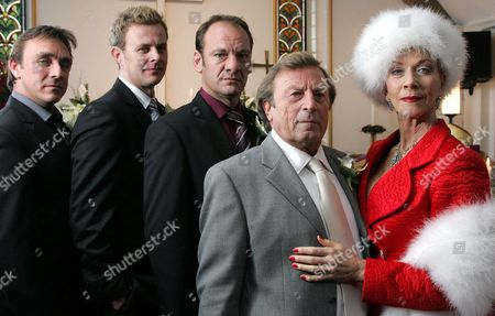 'Emmerdale'   TV The Wedding of Kenneth Farrington and Linda Thorson, with the King sons.