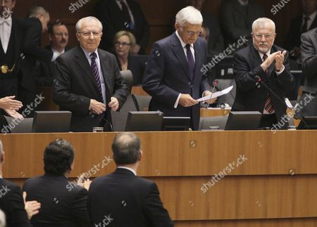 From L-r Jacques Delors Former President of the European Commission European Parliament President Jerzy Buzek and Lothar De Maiziere Former Prime Minister of the German Democratic Republic Commemorate the 20th Anniversary of German Reunification During a Plenary Session of the European Parliament in Brussels Belgium 07 October 2010 Belgium Brussels