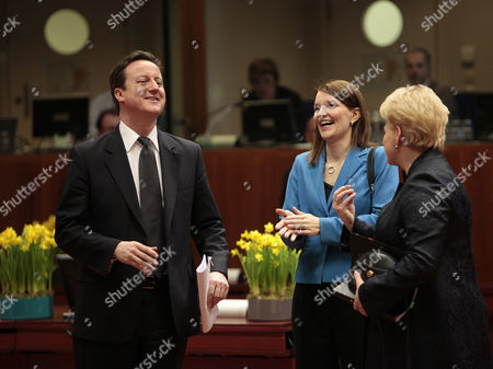British Prime Minister David Cameron (l) Chats with Finnish Prime Minister Mari Kiviniemi (c) and Lithuania President Dalia Grybauskailte (r) During an European Union Summit in Brussels Belgium 25 March 2011 Belgium Brussels