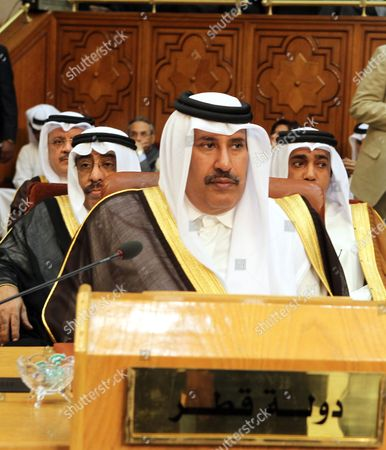 Qatari Foreign Minister Sheikh Hamad Bin Jassim Bin Jaber Al-thani Attends the Extraordinary Meeting at the Arab League Headquarters in Cairo Egypt 15 May 2011 Foreign Ministers of the Arab League Met on 15 May to Choose a New Secretary General to Replace Amr Moussa who Resigned His Post to Run For the Egyptian Presidency the Competition was Due to Be Between Two Candidates Qatari Abdel Rahman Al-attia and Egyptian Mustafa El Fiki But According to Local Media Sources Egypt Has Withdrawn El Fiki's Candidacy Replacing It with That of Nabil Elaraby Shortly Afterwards the Qatari Candidate Withdrew As Well Leaving the Egyptian Foreign Minister Elaraby As the Sole Candidate on the List Egypt Cairo
