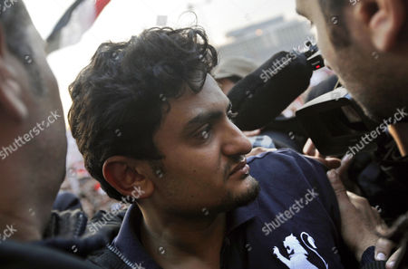 Egyptian Wael Ghonim (c) a Google Inc Marketing Manager For Northern Africa and the Middle East Leaves After Addressing a Crowd on Tahrir Square in Cairo Egypt As Thousands of Protestors Continued Their Anti-government Demonstrations on 08 February 2011 Ghorim who was Released From Police Custody on 08 February After Being Arrested on 28 January is Regarded As a Leading Force Behind the Internet Campaigns That Helped the Anti-mubarak Movement Gain Momentum Egypt Cairo
