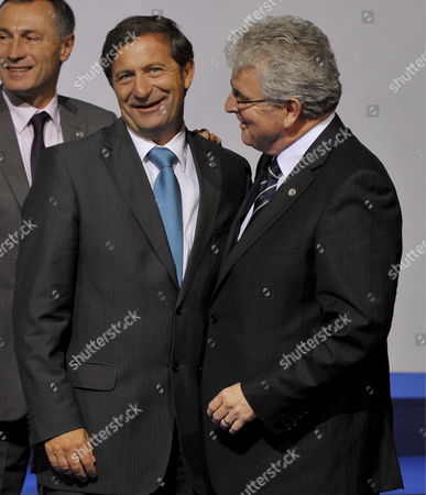 Slovenian Defense Minister Karl Erjavek (l) Departs with Great Britain Defense Minister Des Browne (r) Before Posing For the Family Picture at the European Union Defence Ministers Meeting in Deauville France 01 October 2008 Under the Aegis of the Eu French Presidency Eu Defence Ministers Are Meeting For Two Days to Discuss Different Matters Related to Their Responsibilities Like Eu Military Operations and Capabilities Epa/horacio Villalobos