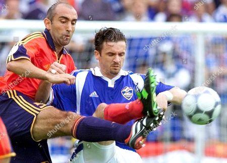 Bruges Belgium: Yugoslav Forward Predrag Mijatovic (c) Duels with Spanish Defender Abelardo (l) During the Euro 2000 Group C Soccer Match Between Yugoslavia and Spain in Bruges Wednesday 21 June 2000