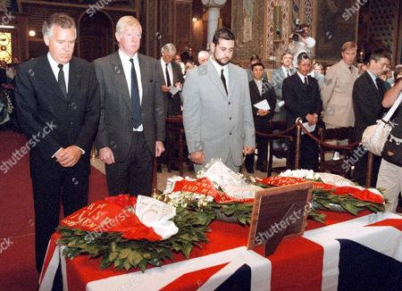 Athens Greece: British Deputy Foreign Minister Peter Hain (l) and British Ambassador in Athens David Madden (2ndl) Pay Their Last Respect to British Diplomat Stephen Saunders During a Memorial Service Organized by the British Embassy at the Orthodox Church of St Dionysos in Athens Friday 16 June 2000 Stephen Saunders was Assassinated in Athens 08 June by Terrorist Group November 17