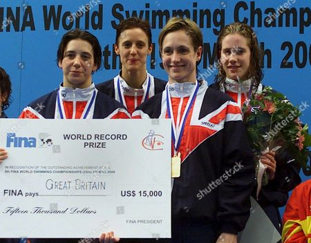 Athens Greece: British Swimmers Claire Huddart Nicola Jackson Karen Legg and Karen Pickering (no Direction Given) Pose on the Podium After Setting a New World Record in the Womens 4x200m Relay Freestyle Competition at the 5th Fina Worldshort Course Swimming Championships in Athens on Thursday 16 March 2000 the Team was Awarded a 15 000 Dollar Purse For the World Record