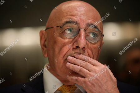 On, AC Milan vice president Adriano Galliani attends 'The Value of the UEFA Champions League Final' event at the Bocconi University, in Milan, Italy. Defending champions Juventus will play AC Milan for the Italian Super Cup in Doha on Friday, Dec. 23, 2016
