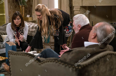 Lawrence White, as played by John Bowe, and Ronnie, as played by John McArdle, are shocked to discover Lachlan's been beaten up twice in prison. They think Cain's behind it but Rebecca White, as played by Emily Head, convinces them Cain's just bluffing. Incensed Cain ups his threat levels by taking a trip to visit Lachlan in prison, telling him to take his advice or die. Also pictured Chrissie White Louise Marwood. (Ep 7718 - Tue 10th January 2017)***