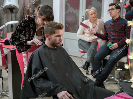 Stock Image of Tracy Metcalfe's, as played by Amy Walsh, sick of Finn Barton, as played by Joe Gill, wallowing and tells him she's booked him a haircut. When they go to the salon Kerry Wyatt's, as played by Laura Norton, jaw drops when, bronzed Adonis, Nathan enters but Will Finn show interest? (Ep 7719 - Wed 11th January 2017)***