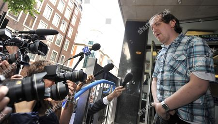 Jonathan May-bowles (r) Exits the Westminster Magistrates Court in London Britain 29 July 2011 May-bowles the Protester Accused of Throwing a Paper Plate of Shaving Foam at Rupert Murdoch As He Gave Evidence to Mps Appeared in Court Charged with Causing Harassment and Alarm Or Distress in a Public Place May-bowles Said As He Left Court ' This is the Most Humble Day of My Life' United Kingdom London