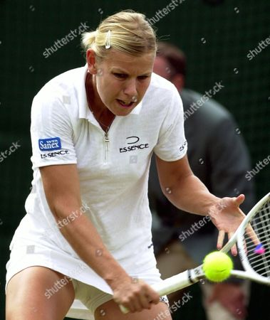 London United Kingdom : German Player Anke Huber Plays a Backhand During Her Third Round Match Against Russian Elena Dementieva at the All England Tennis Championships in Wimbledon on Friday 29 June 2001 Huber Won 6-0 6-2