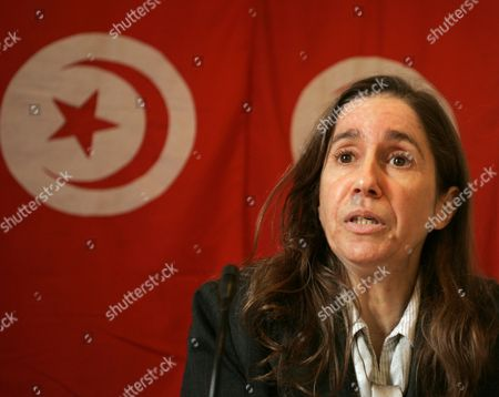 Stock Photo of Secretary General of Tunisia's Opposition Democratic Progressive Party (pdp) Maya Jeridi Gives a Press Conference After the Announcement of the Death of a Young Tunisian who Set Himself Alight Last Month in a Protest That Sparked Days of Social Unrest in Tunis on 05 January 2011 Mohamed Bouazizi a 26-year-old Graduate Doused Himself in Petrol and Set Himself Alight on 17 December 2010 in Sidi Bouzid Central Tunisia in a Protest Against Unemployment Bouazizi Died at a Hospital 05 January 2011 of Injuries He Sustained His Suicide Had Triggered a Wave of Protest and Riots Tunisia Tunis