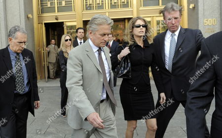 Stock Photo of Us Actor Michael Douglas (2nd L) and His Ex-wife Diandra Douglas (2nd R) Leave a Federal Courthouse After Attending the Sentencing of Their Son Cameron in New York New York Usa on 20 April 2010 a Judge Sentenced Michael Douglas' Son Cameron Douglas on Drug Charges to Five Years in Prison at the Hearing United States New York