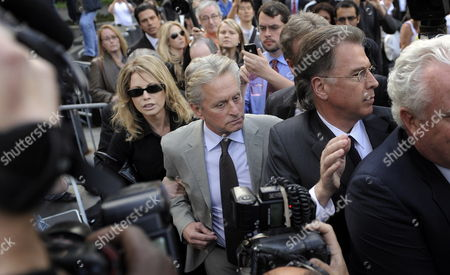 Us Actor Michael Douglas (2nd L) and His Ex-wife Diandra Douglas (l) Leave a Federal Courthouse After Attending the Sentencing of Their Son Cameron in New York New York Usa on 20 April 2010 a Judge Sentenced Michael Douglas' Son Cameron Douglas on Drug Charges to Five Years in Prison at the Hearing United States New York
