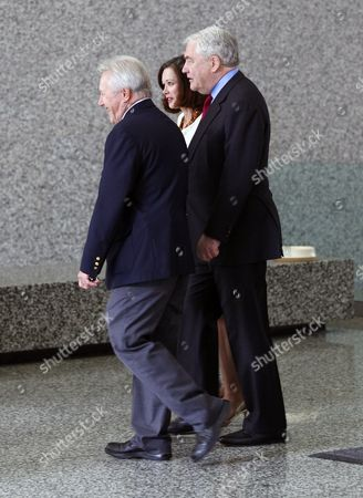 Former Hollinger International Chairman Conrad Black (r) Arrives with His Wife Barbara Amiel (c) at the Dirksen Federal Courthouse For a Resentencing Hearing in Chicago Illinois Usa 24 June 2011 in 2007 a Jury Convicted Black 66 Whose Media Empire Included the Chicago Sun-times For Defrauding Investors in Hollinger International Inc He was Sentenced to Six and a Half Years in Prison United States Chicago