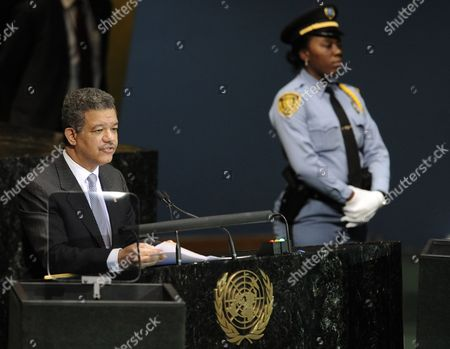 Leonel Fernandez Reyna President of the Dominican Republic Speaks During the Millennium Development Goals Summit at United Nations Headquarters in New York New York Usa on 21 September 2010 the Summit Which is Being Held in Conjunction with the General Debate of the 65th Session of the Un General Assembly Later This Week is a Way For World Leaders to Review the Ambitious Anti-poverty Targets Adopted in 2000 and Accelerate the the Achievement of the Goals That Have Been Set United States New York