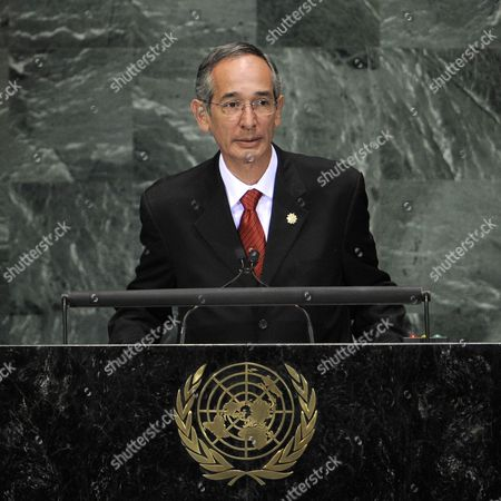 Alvaro Colom Caballeros President of Guatemala Addresses the Millennium Development Goals Summit at United Nations Headquarters in New York New York Usa on 20 September 2010 the Summit Which is Being Held in Conjunction with the General Debate of the 65th Session of the Un General Assembly Later This Week is a Way For World Leaders to Review the Ambitious Anti-poverty Targets Adopted in 2000 and Accelerate the the Achievement of the Goals That Have Been Set United States New York