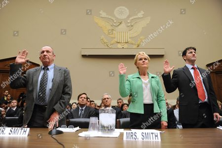 Vehicle Malfunction Victims Eddie Smith (l) and Rhonda Smith (2-r) of Sevierville Tennessee and President of Safety Research and Strategies Sean Kane (r) Are Sworn-in During the House Energy and Commerce Committee Oversight and Investigations Subcommittee Hearing on the Response by Toyota and the National Highway Traffic Safety Administration (nhtsa) to ?incidents of Sudden Unintended Acceleration? on Capitol Hill in Washington Dc Usa 23 February 2010 Toyota Has Estimated That the Company's Safety Recall Will Cost About Two Billion Dollars Before the End of March 2010 Perhaps Rising Further Say Analysts Toyota Has Already Recalled About Eight Million Vehicles with Accelerator Problems Also in the Picture is President and Chief Operating Officer of Toyota Motor Sales Usa James Lentz (back L) United States Washington