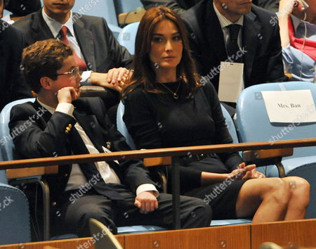 Carla Bruni (r) and Louis Sarkozy Listen to Nicolas Sarkozy President of France Speak During the 64th General Debate of the United Nations General Assembly at United Nations Headquarters in New York New York Usa on 23 September 2009 Louis is Sarkozy's Son United States New York
