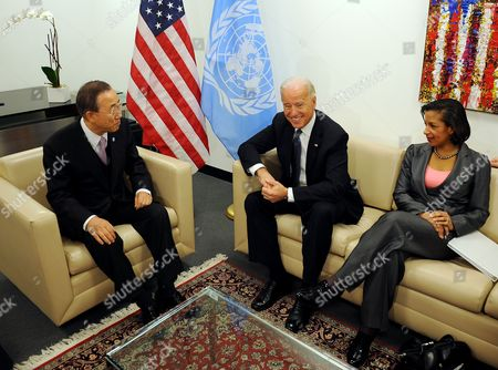 United States Vice President Joe Biden (c) Talks with United Nations Secretary-general Ban Ki-moon (l) Before the Start of a United Nations Security Council High-level Meeting on Iraq at United Nations Headquarters in New York New York Usa on 15 December 2010 at Right is United States Ambassador to the United Nations Susan E Rice United States New York