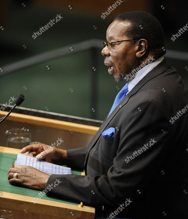 Bingu Wa Mutharika President of Malawi Speaks During the Opening Day of the General Debate of the 65th Session General Assembly at United Nations Headquarters in New York New York Usa on 23 September 2010 the General Debate of the General Assembly is the Annual Meeting of the Un's One Principal Organ in Which All Member Nations Have Equal Representation United States New York
