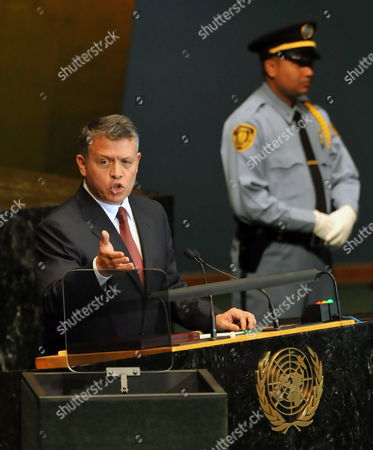 King Abdullah Ii Bin Al Hussein Head of State of the Hashemite Kingdom of Jordan Speaks During Opening Day of the General Debate of the 65th Session General Assembly at United Nations Headquarters in New York New York Usa on 23 September 2010 the General Debate of the General Assembly is the Annual Meeting of the Un's One Principal Organ in Which All Member Nations Have Equal Representation Epa/jason Szenes United States New York