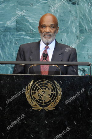 Rene Garcia Preval President of the Republic of Haiti Speaks During the General Debate of the 65th Session of the United Nations General Assembly at United Nations Headquarters in New York New York Usa 24 September 2010 the General Debate of the Un General Assembly is the Annual Meeting of the Un's One Principal Organ in Which All Member Nations Have Equal Representation United States New York
