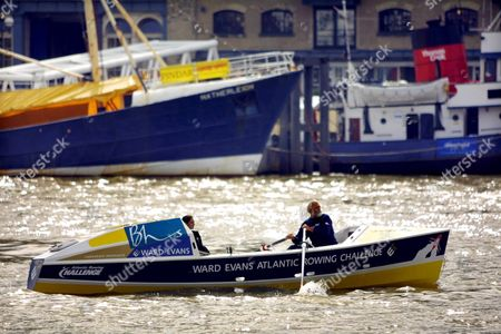 London United Kingdom : Jim Shekhtar Rows His Boat Le Shark Along the River Thames For a Photocall Beside Tower Bridge in London 09 April 2001 Shekhtar was the First Man to Row Across the Pacific Ocean Non-stop and Unaided Shekhtar is Back in the Uk After Completing His Personal Challenge Which Took 274 Days to Row the 10 000 Miles From Peru to Australia During His Voyage Shekhtar Encountered Sharks As Well As Being Nearly Rammed by an Oil Tanker