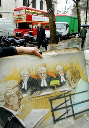 London United Kingdom : a Court Drawing Showing Michael Stone (r) is Displayed by a Court Artist Elizabeth Cook After the Royal Courts of Justice Broke For Lunch in London 08 February 2001 Stone was Convicted of Murdering Mother and Daughter Lin and Megan Russell More Than Two Years Ago the Court is Deciding Whether to Quash the Conviction