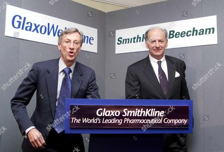 London United Kingdom : Sir Richard Sykes (left) Chairman of Glaxo Wellcome and Jean-pierre Garnier Chief Executive Officer Elect of Smithkline Beecham at a Photo Call 17 January 2000 at the Brewery City of London For the Proposed 15 Billion Pound (24 9 Billion Usd) Merger of the Two Research-based Pharmaceutical Companies