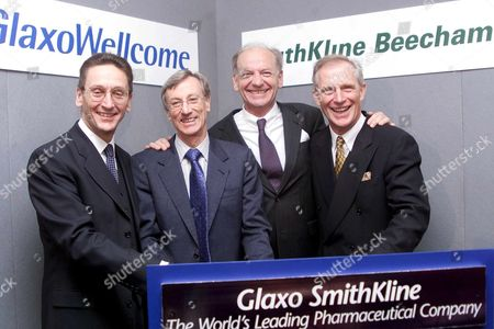 London United Kingdom : (l-r) John Coombe Finance Director of Glaxo Wellcome Sir Richard Sykes Chairman of Glaxo Wellcome Jean-pierre Garnier Chief Executive Officer Elect of Smithkline Beecham and Jan Leschly Chief Executive of Smithkline Beecham in Bouyant Mood at a Photo Call 17 January 2000 at the Brewery City of London For the Proposed 15 Billion Pound (24 9 Billion Usd) Merger of the Two Research-based Pharmaceutical Companies