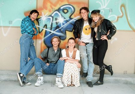 'Zapped Again'  Film - 1990 - Pictured here from left to right: Impishly nerdy Elliott (Ira Heiden), Kevin  (Todd Eric Andrews), the bookish Lucy (Kelli Williams) and self-obsessed heavy metal freaks Chris (Ross Harris) and Joanne (Linda Larkin)