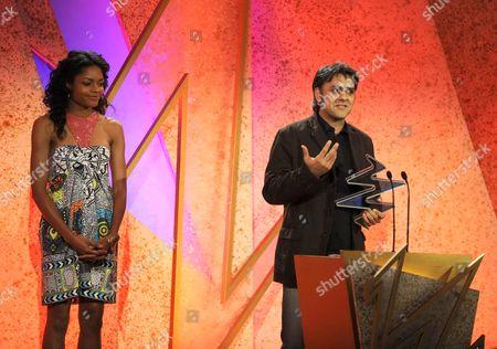 'The South Bank Show Awards'  TV - 2008 -  NAOMIE HARRIS, presenter of the Decibel Award with the winner Daljit Nagra.