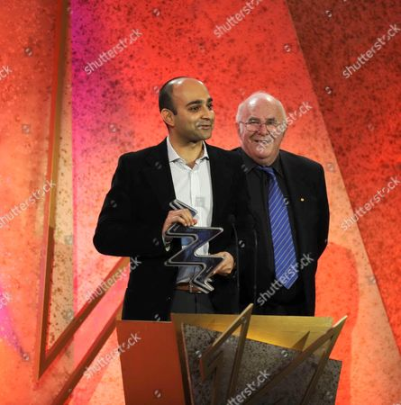 'The South Bank Show Awards'  TV - 2008 - Clive James with the winner of the Literature Award - Mohsin Hamid.