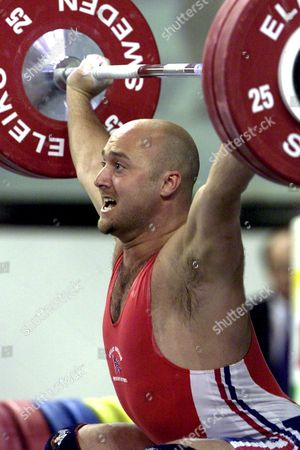 Antalya Turkey : Steve Ward of Great Britain Performs in the 85kg Snatch Discipline During the European Weightlifting Championships in Antalya on Saturday 27 April 2002