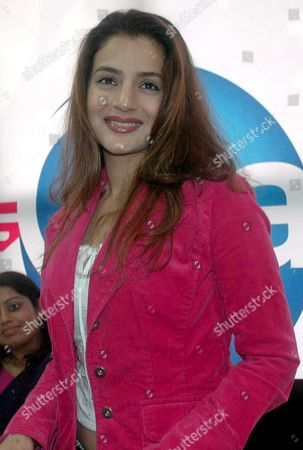 Stock Image of Bollywood Actress Amisha Patel Looks On During a Press Conference On Her Arrival in Bhopal Madhya Pradesh India 16 July 2007 She is in the City to Inaugurate Flying Cats an Air Hostess Training Institute