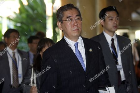 Japan's Foreign Minister Takeaki Matsumoto Arrives at Bali International Convention Center For the 18th Asean Regional Forum (arf) in Nusadua Bali Indonesia on 23 July 2011 the Indonesian Island of Bali Hosts the 44th Asean Ministerial Meeting (amm) Post Ministerial Conference (pmc) and 18th Asean Regional Forum (arf) From 19 to 23 July Indonesia Nusadua