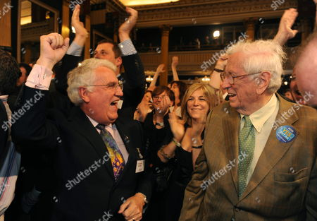 Dick Roche Irish Minister For European Affairs (l) and Former Irish Prime Minister Garrett Fitzgerald Celebrating the Final Result of the Lisbon Treaty Referendum in Dublin Castle in Dublin Ireland 03 October 2009 Irish People Passed the Lisbon Treaty Referndum by Over 60 Per Cent Ireland Dublin