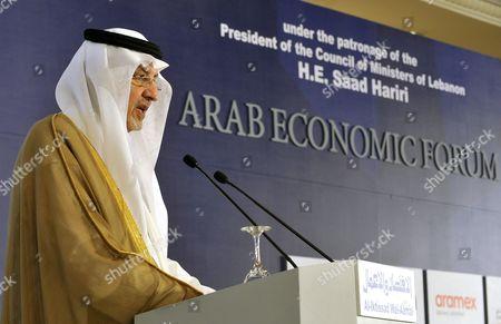 Saudi Prince Khaled Al-faisal Bin Abdul Aziz Al-saud Governor of Mecca Speaks During the Opening Session of the 18th Arab Economic Forum in Beirut Lebanon 20 May 2010 Lebanon Beirut