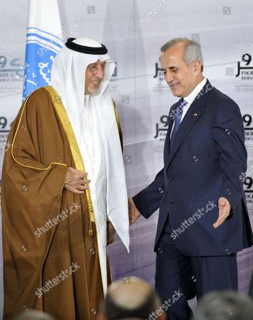 Lebanese President Michel Suleiman (r) Welcomes Saudi Arabia's Prince Khaled Al-faisal Bin Abdul Aziz Al-saud (l) Governor of Mecca and Chairman of the Arab Thought Foundation (atf) at the Opening Ceremony of the Ninth Annual Conference of the Arab Thought Foundation's Fikr 9 in Beirut Lebanon 08 December 2010 the Arab Thought Foundation is an International Independent and Non-governmental Organization Founded in 2001 with the Objective of Promoting the Interests of the Arab Region the Ninth Annual Conference of the Arab Thought Foundation's Fikr 9 Will Run Until 09 December 2010 Lebanon Beirut