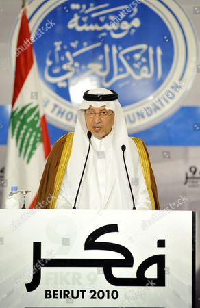 Saudi Arabia's Prince Khaled Al-faisal Bin Abdul Aziz Al-saud Governor of Mecca and Chairman of the Arab Thought Foundation (atf) Delivers a Speech at the Opening Ceremony of the Ninth Annual Conference of the Arab Thought Foundation's Fikr 9 in Beirut Lebanon 08 December 2010 the Arab Thought Foundation is an International Independent and Non-governmental Organization Founded in 2001 with the Objective of Promoting the Interests of the Arab Region the Ninth Annual Conference of the Arab Thought Foundation's Fikr 9 Will Run Until 09 December 2010 Lebanon Beirut