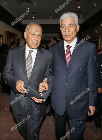 Egyptian Foreign Minister Ahmed Abul Gheit (l) with His Libyan Counterpart Mousa Kousa (r) Following a Meeting of Africa Foreign Ministers in Tripoli Libya 28 November 2010 Reports State That the Africa/eu Summit is Due to Take Place in Libya on 29 and 30 November Under the Theme of 'Investment Economic Growth and Job Creation' Heads of States and Governments Are to Address Key Issues As Peace and Security Climate Change Regional Integration and Private Sector Development Infrastructure and Energy Agriculture and Food Security Migration Libyan Arab Jamahiriya Tripoli